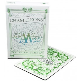 Green Chameleons playing cards