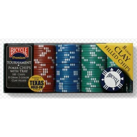 Bicycle  Premium 8-Gram Clay Poker Chips with Tray 100ct.
